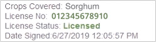 License number example