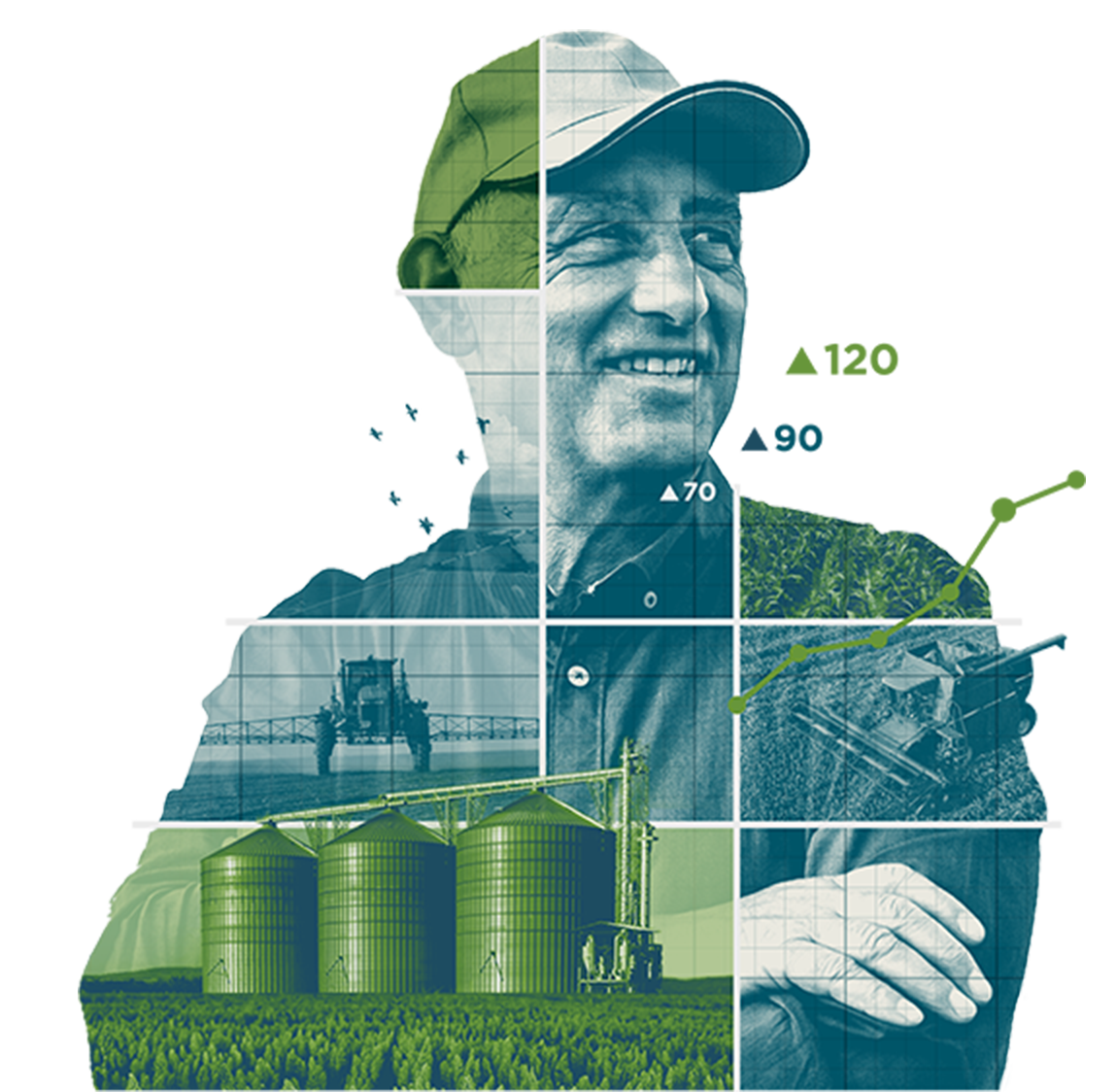Composite image of a farmer with equipment and field snapshots